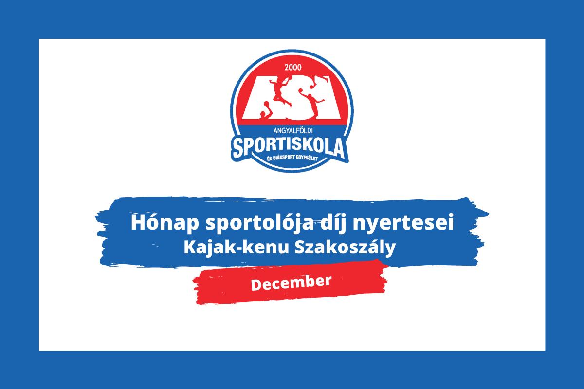 Hónap sportolója díj - Kajak-kenu Szakosztály - december