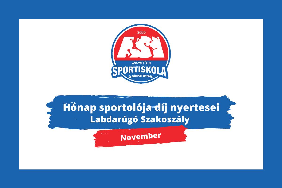 Hónap sportolója díj - Labdarúgó Szakosztály - November