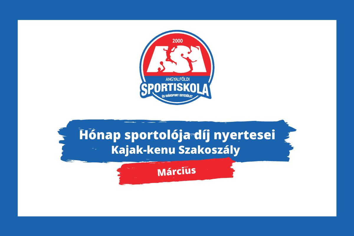 Hónap sportolója díj - Kajak-kenu Szakosztály - március