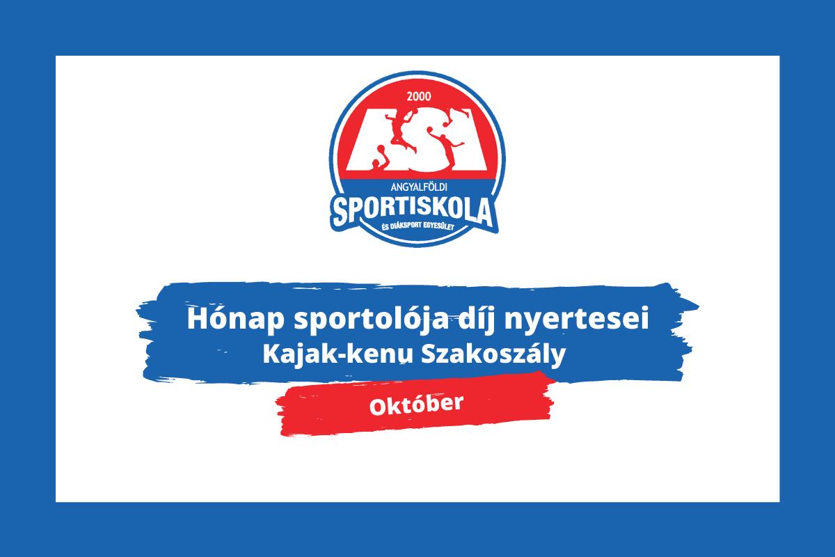 Hónap sportolója díj - Kajak-kenu Szakosztály - Október